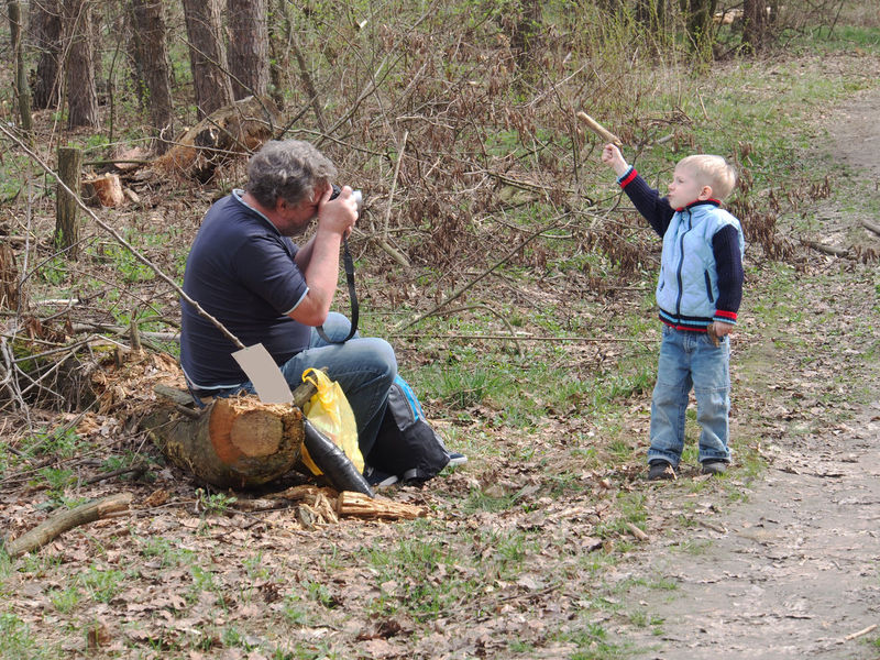 Grandfather and grandson are walking in the spring forest. Grandfather Grandson Boys Casual Clothing Change Child Childhood Day Field Forest. Full Length Land Leisure Activity Lifestyles Males  Men Nature Outdoors People Real People Side View Togetherness Tree Two People