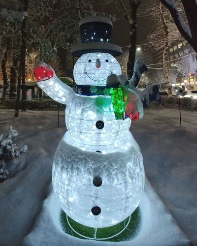 Christmas Decoration Christmas Snowman No People Indoors  Sculpture Night
