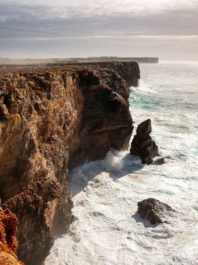 Cliffs in sagres. algarve, portugal.