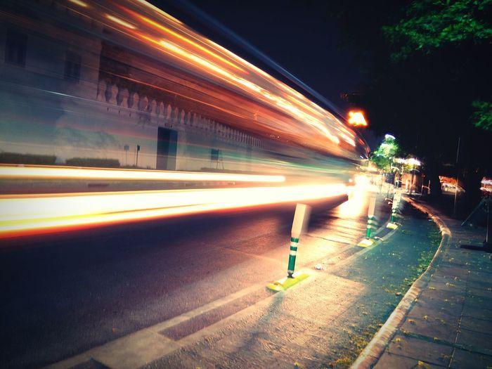 Night Illuminated Speed Street City Light Trail City Street Long Exposure Motion Blurred Motion Street Light Transportation Car Outdoors Travel Destinations Backgrounds Reflection