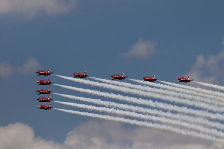 RAF Red Arrows Royal Air Force Display Team The Red Arrows Red Arrows Royal Air Force RIAT 2018 RIAT Royal International Air Tattoo Cloud - Sky Airplane Air Vehicle Sky Mode Of Transportation Transportation Airshow