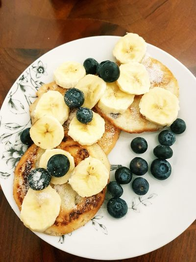 Blueberry Pankakes Banana Fruit Food And Drink Food Healthy Eating Freshness Indoors