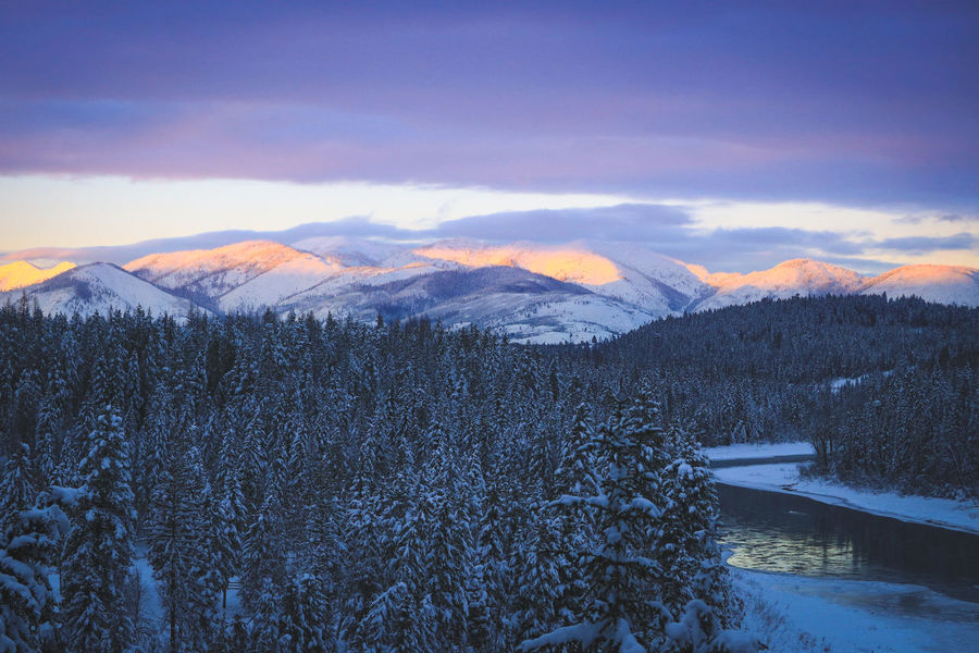 Sunset at the Glacier National Park Beauty In Nature Cloud - Sky Cold Temperature Environment Landscape Mountain Mountain Range Nature No People Non-urban Scene Outdoors Plant Scenics - Nature Sky Snow Snowcapped Mountain Sunset Tranquil Scene Tranquility Tree Winter