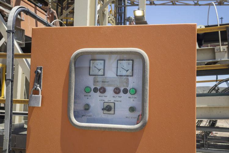 Close-up of locked control panel