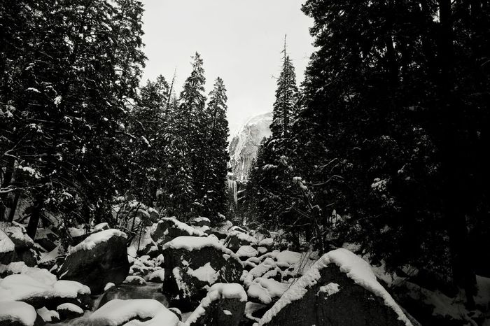 Winter Winterwonderland Winterscape Snow Forest Woods Woodlands Waterfall Water Rocks And Water Boulder Granite California Love California Sierra Nevada Sierra Yosemite National Park Yosemite Nevada Falls Mist Trail Snowshoes Snowpack B&w Nature B&w Photo B&W Collection