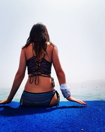 Rear view of woman sitting by sea against clear sky during sunny day