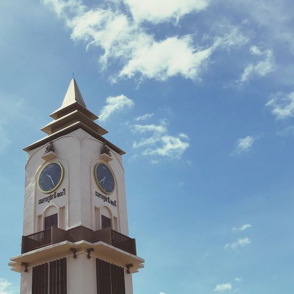 Low Angle View Cloud - Sky Sky Built Structure Architecture No People Building Exterior Religion Day Place Of Worship Outdoors Clock Tower Spirituality Bell Tower Clock