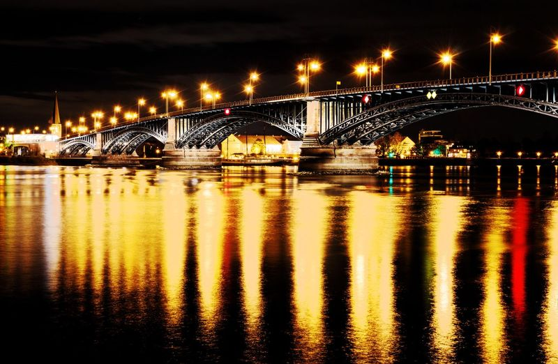 #TheodorHeussBrücke #beiNacht Connection Illuminated Transportation Architecture Bridge No People Nature Built Structure City Waterfront Sky