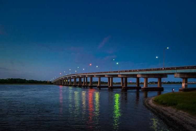 Light it up. Twilight Sky Water Reflections Bridge EyeEm Charleston