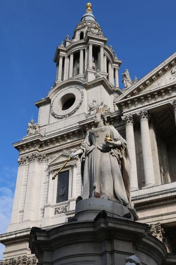St. Paul's Cathedra In London Queen Victoria Statue Place Of Worship Spirituality Statue Low Angle View