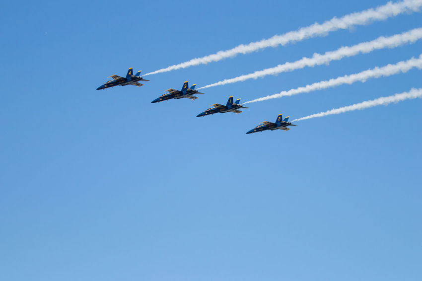 Navy Blue Angels Air Vehicle Airplane Airshow Blue Clear Sky Cooperation Fighter Plane Flying Low Angle View Mode Of Transportation Motion Nature No People on the move Order Outdoors Plane Sky Smoke - Physical Structure Teamwork Transportation Vapor Trail
