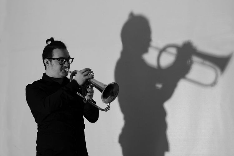 Art B/w B/W Photography Camera - Photographic Equipment Day Leisure Activity Lifestyles Light Music Musical Instruments Musicista Ombra E Luce Photography Themes Siluette Skill  Trumpet