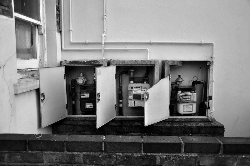 Gas meters on wall