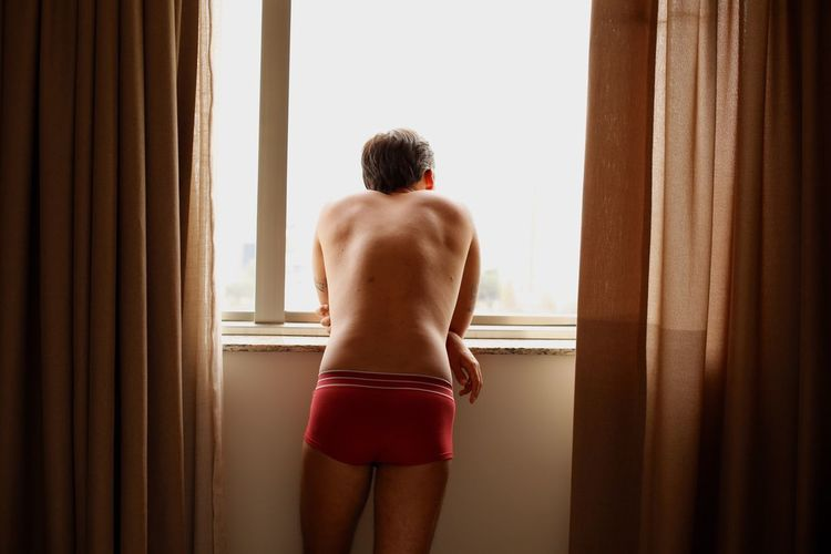 Rear View Of Man Standing At Window