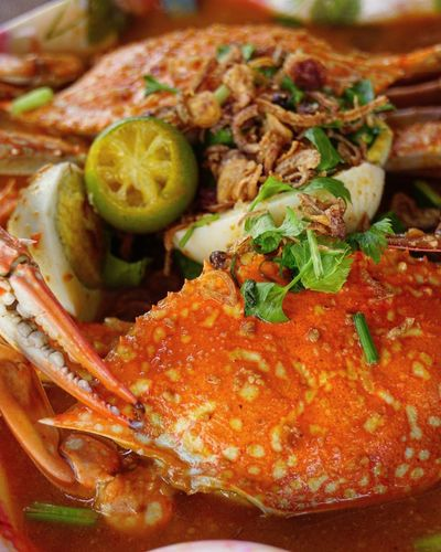 Close-up of seafood in plate
