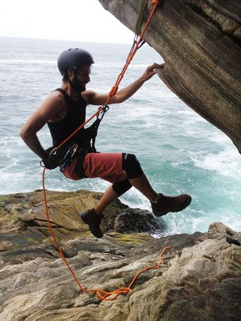Gruta sacristia. Rope Full Length Water Sea Adults Only Adult Adventure People One Person Outdoors Day Nautical Vessel Beach One Man Only Only Men Young Adult Nature Sky