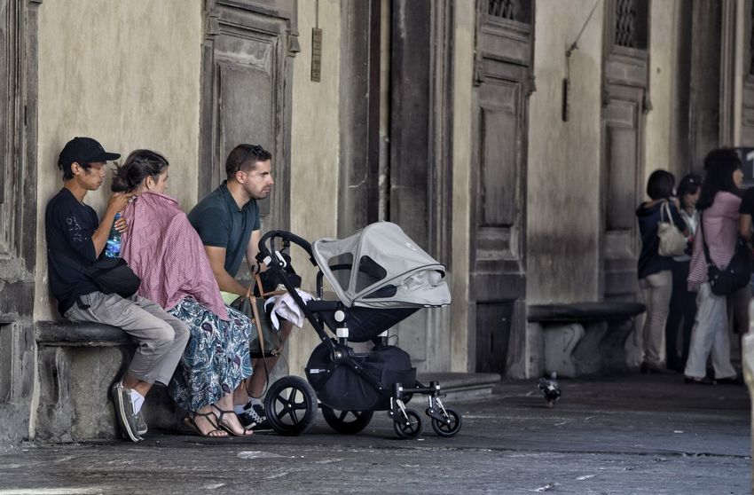 Family Sitting People Full Length Day Outdoors Real People Lifestyles Adult Togetherness Child City Friendship Casual Clothing Florence Visit Italy Tourism Italy People Watching Street Photography City Pram Childhood Men Low Angle View The Week On EyeEm