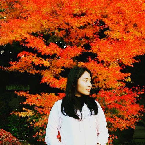 Autumn in Japan Maple Red RedLeaves Side View Asian  Vacation Autumn Change Only Women Leaf Tree One Young Woman Only Adult One Woman Only One Person Young Women People Nature Beauty Headshot Day Portrait International Women's Day 2019