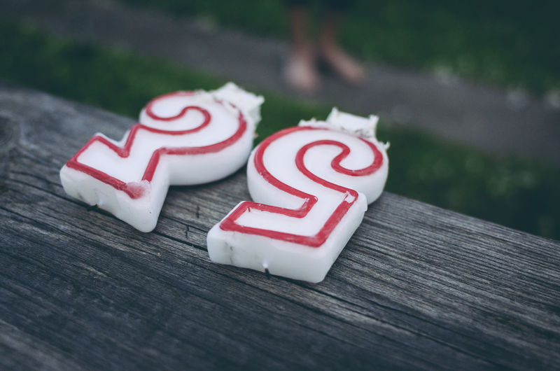 Close-up of number candles on table