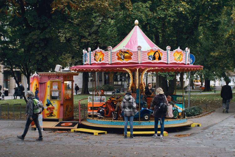 People at amusement park