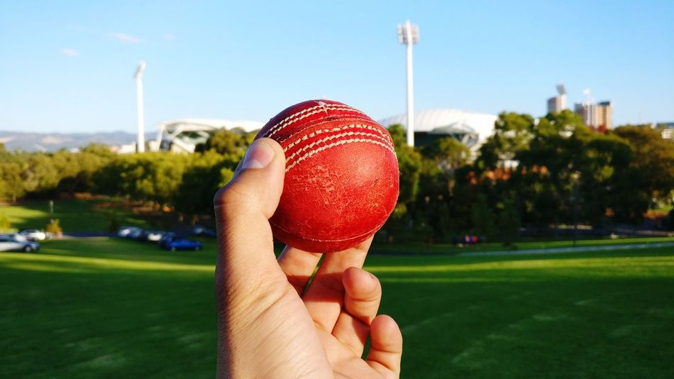 Cricket Field Cricket Ball Sport Leisure Activity Ball Body Part Grass Holding Human Body Part Outdoors Sky Human Hand Day The City Light Grass Tranquility Close-up Adelaide S.A. City