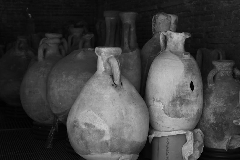 Ancient amphorae, black and white Black And White Amphoras Pottery Still Life No People Art And Craft Ceramics Indoors  Craft Container In A Row Large Group Of Objects Group Of Objects Side By Side