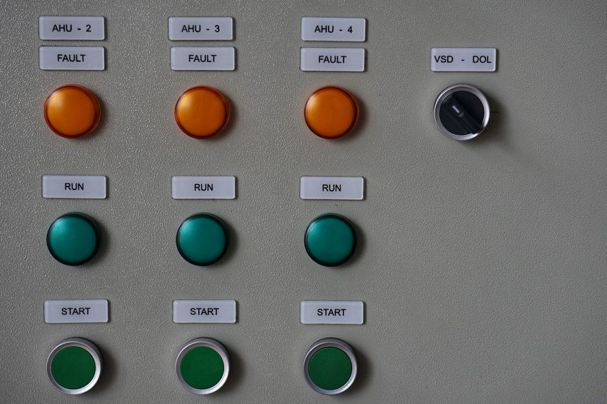 Control Panel Name Plate Push Button Control Technology Control Panel Close-up No People Industry Choice Electrical Equipment Text