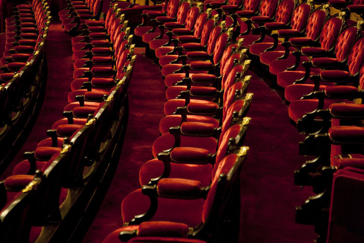 High Angle View Of Velvet Armchairs At Theater