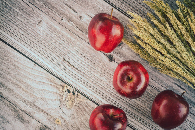 Directly above shot of apples on table