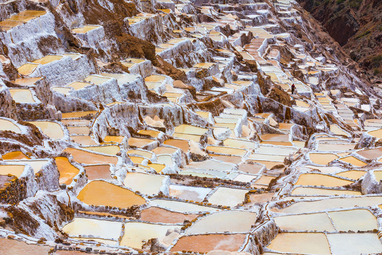 High angle view of snowed landscape