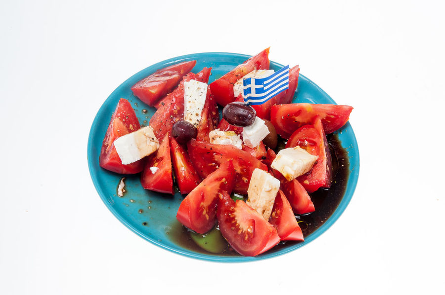 Red Food And Drink No People Food Plate Freshness Close-up White Background Ready-to-eat Tomatoe Tomatoe Salad Greek Salad Feta Cheese Olives fl