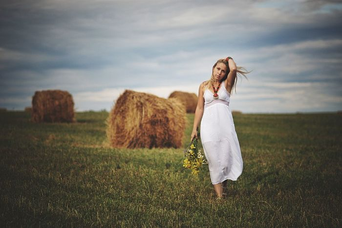 Field Grass Rural Scene One Person Long Hair Sky Nature Cloud - Sky Beautiful Woman Bale  Agriculture Young Adult One Woman Only Meadow Summer Beauty Adult Hay Only Women Beauty In Nature