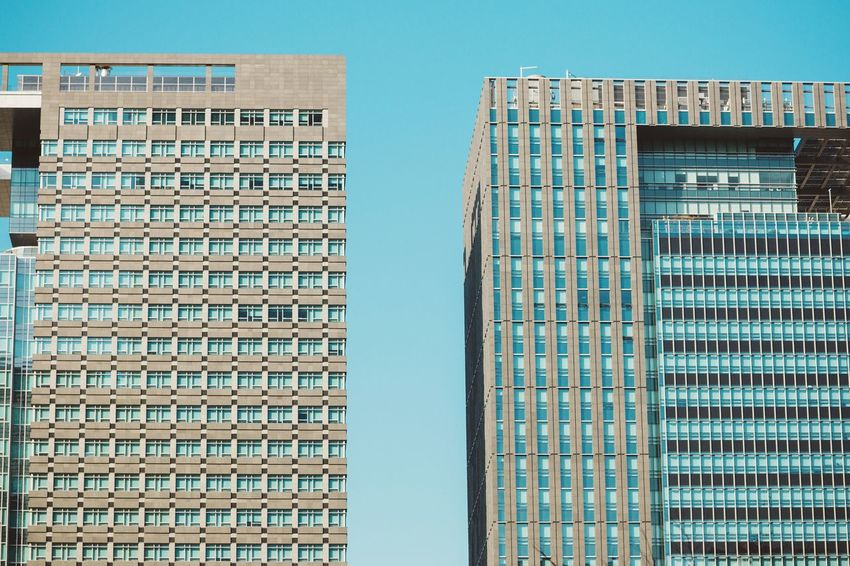 Fraternal twins Urban Geometry EyeEm Best Shots - Architecture Architecture_collection Twins Seoul Urban Landscape Architecturelovers Modern Architecture Blue Sky Geometric Shapes