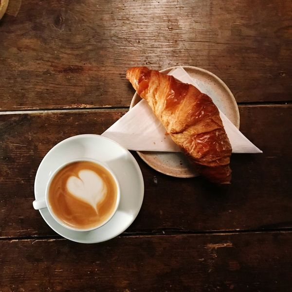 Italian breakfast Breackfast Brioche Food And Drink Table Still Life Freshness High Angle View Directly Above Food Stories Coffee Cup Ready-to-eat