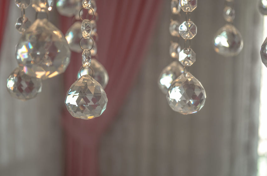 Balls Bubble Close-up Crystal Crystalball Crystals Curtain Decor Decoration Detail Focus On Foreground Fragility Group Of Objects Home Illuminated In A Row Indoors  Interior Interior Decorating Interior Design Interior Views Light No People Selective Focus Shiny