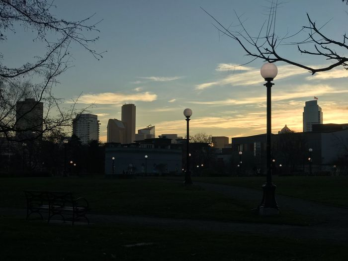 Seattle Winter Sunset Capitol Hill Seattle Capitol Hill Cal Anderson Park Union 2 Tower Columbia Tower Winter American Flag Seattle Built Structure Building Exterior Sky Silhouette Sunset Outdoors Cityscape Urban Skyline