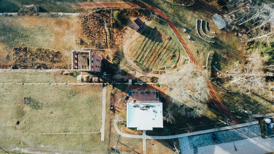 Aerial view of building on land