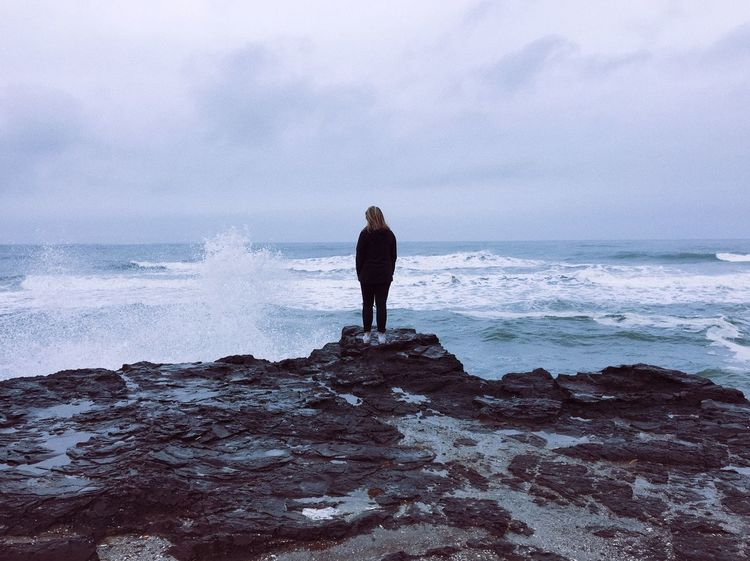 Lost In The Landscape Connected By Travel Sea Rear View Horizon Over Water Water Beauty In Nature Nature One Person Sky Wave Standing Scenics Full Length Real People Women Leisure Activity Tranquil Scene Beach Day Outdoors Lifestyles TheAdventuresOfAmanda Be. Ready.