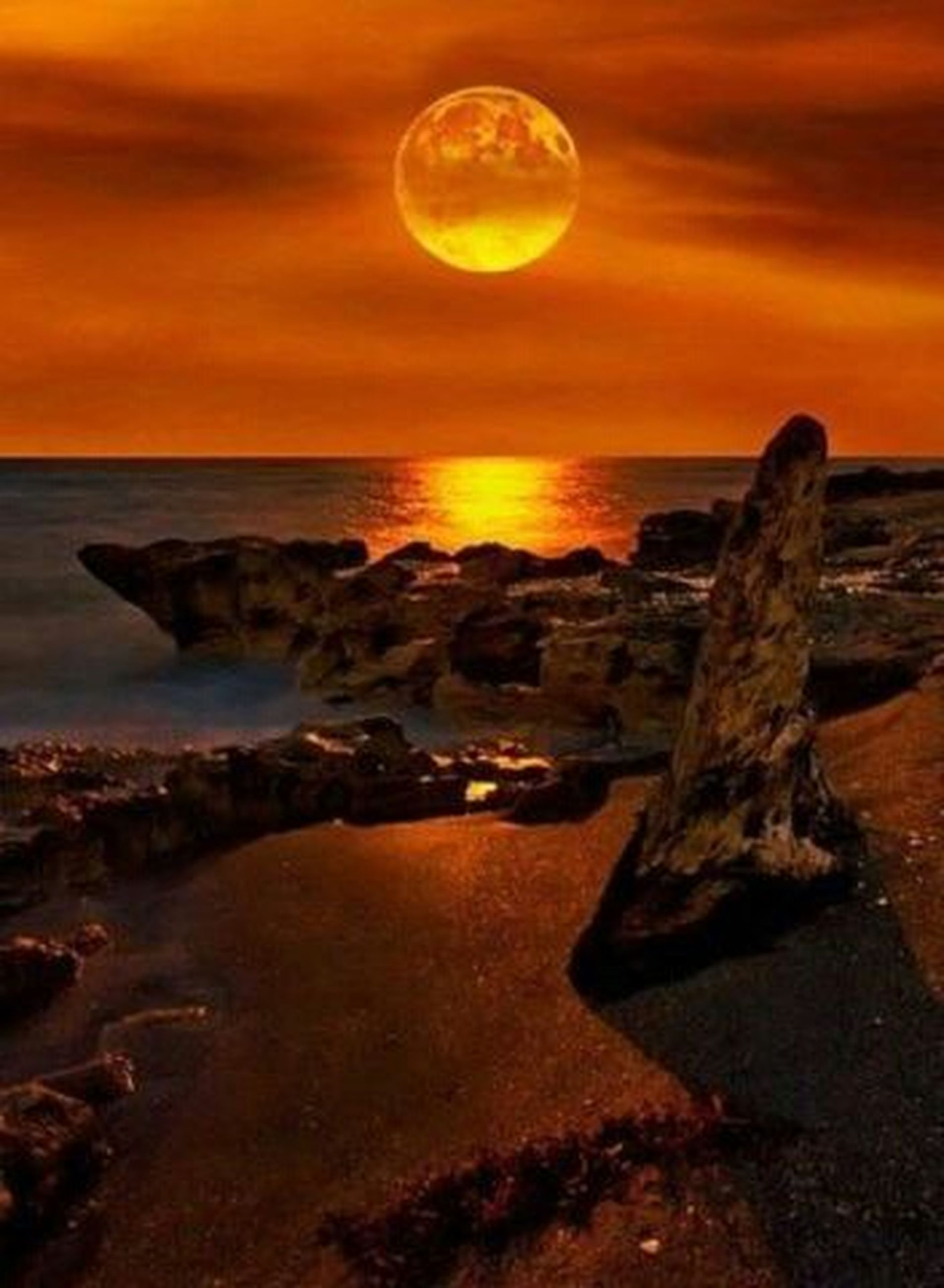sunset, sea, scenics, horizon over water, beach, water, orange color, tranquil scene, beauty in nature, sky, tranquility, sun, shore, idyllic, nature, rock - object, reflection, coastline, outdoors, wave