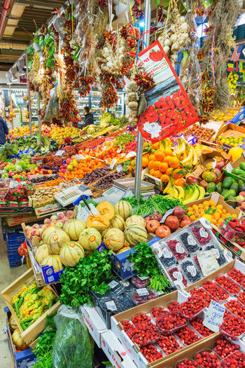 Multi colored fruits for sale in market