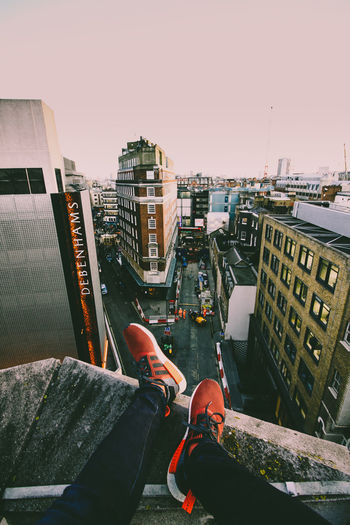 Don't look down High Angle View Outdoors Rooftop Sky Architecture Day London London Lifestyle Streetphotography Street Fashion Wide Angle Canonphotography Adidas Nmd
