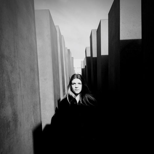 Sister in Berlin. One Person Young Adult Standing Young Women Day Woman Blackandwhite Germany Berlin Holocaust Memorial