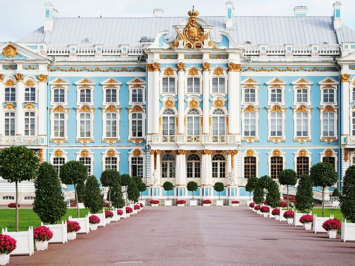 Catherine Palce in Pushkin Russia Architecture City Cultures No People Outdoors Day Pushkin  St Petersburg Architecture Catherine Pushkin  Gilded Beautiful Royal Landmark Sightseeing Tsarskoe Selo Palace Tourist Attraction  Russia Gold Tourism Travel Destinations Travel Miles Away