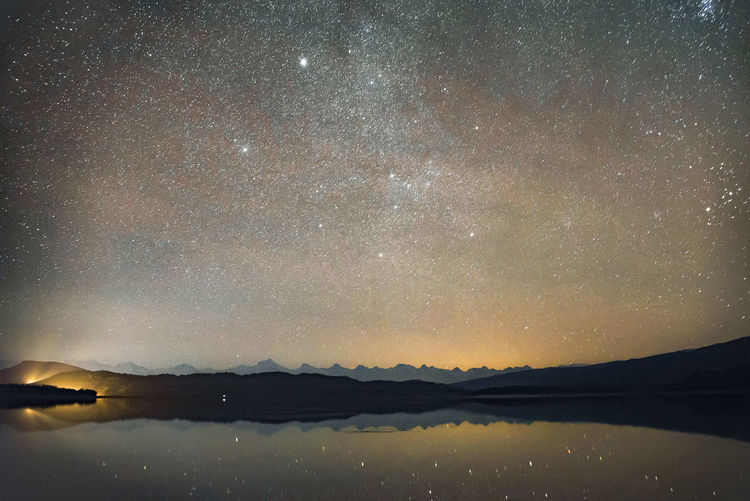 Shaori Lake Sky Beauty In Nature Star - Space Scenics - Nature Night Astronomy Tranquility Space Water Tranquil Scene Galaxy Mountain Nature Lake Reflection Idyllic Waterfront Infinity No People Mountain Range Outdoors Milky Way Shaorilake