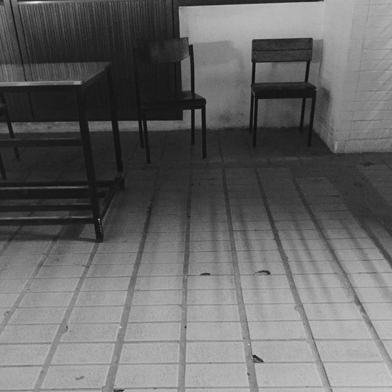 Chair Empty Tiled Floor No People Indoors  Day Silent Moment Lonely Place  Table Black And White Black & White