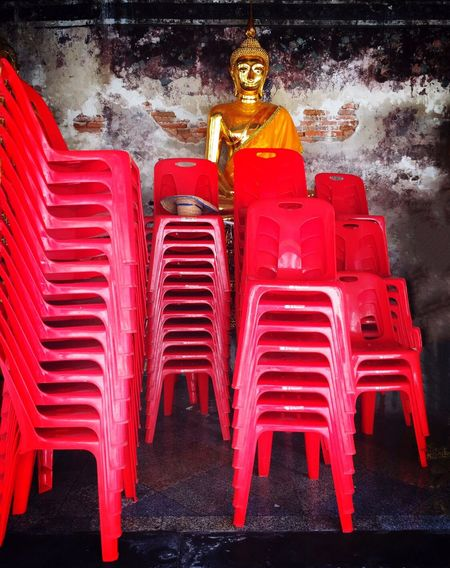Bangkok Buddha Statue Red Chairs Plastic Chairs Stacked Chairs Travel Photography IPhoneography The Street Photographer - 2016 EyeEm Awards Buddhism Wat Saket Buddha Temple Feel The Journey