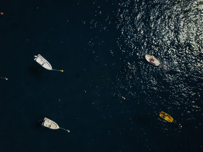 Aerial Shot Four Looking Down Aerial View Boat Boats Day Four Objects Nature Outdoors Real People Sea Swimming Vessel Vessels Water