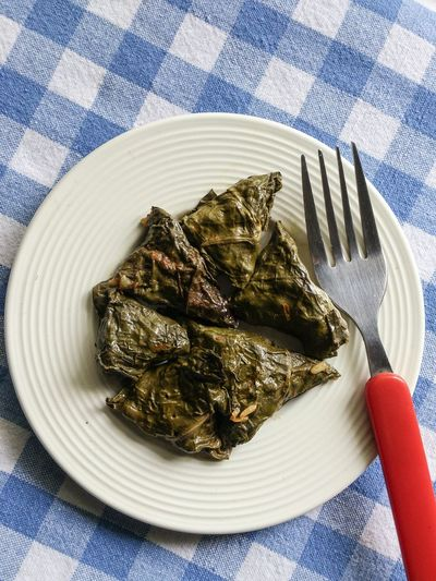 High angle view of serving stuffed vine leaves in plate
