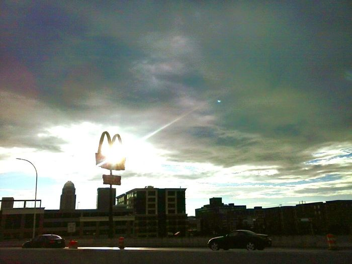 Urban Development . Road Trip!McDonalds arches at dusk. Adventure Club Traveling Shadows And Light Kentucky Interstate On The Way Sunset_collection USA