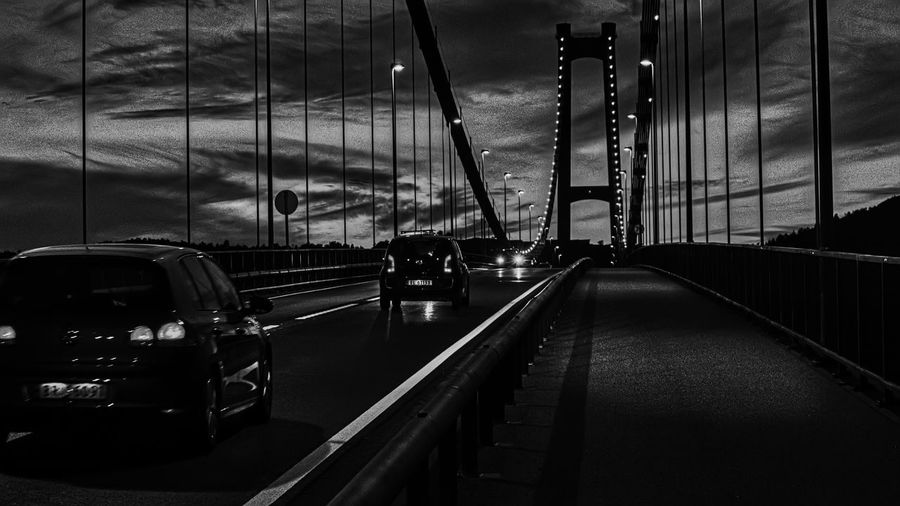 Askøy Bridge Transportation Mode Of Transportation Car Architecture Land Vehicle Motor Vehicle Built Structure Cloud - Sky The Way Forward City Sky Direction No People Road Connection Travel Bridge Illuminated Bridge - Man Made Structure Nature Outdoors Skyscraper